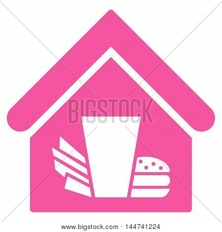 Fastfood Cafe icon. Glyph style is flat iconic symbol, pink color, white background.
