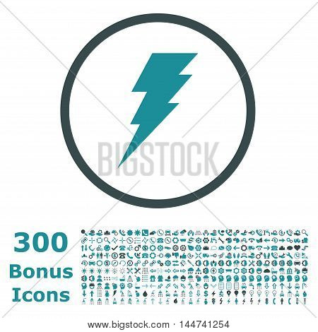 Execute rounded icon with 300 bonus icons. Vector illustration style is flat iconic bicolor symbols, soft blue colors, white background.
