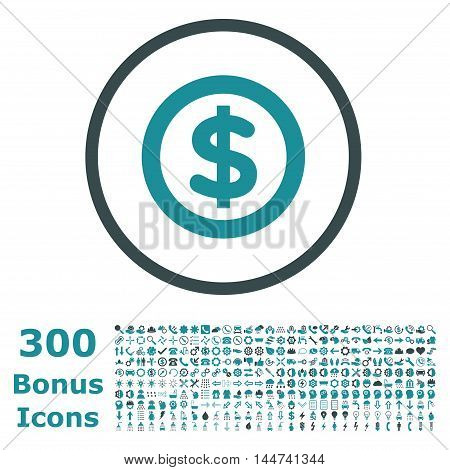 Finance rounded icon with 300 bonus icons. Vector illustration style is flat iconic bicolor symbols, soft blue colors, white background.