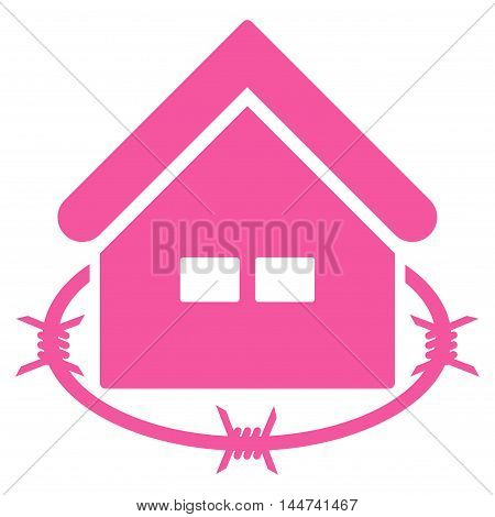 Prison Building icon. Glyph style is flat iconic symbol, pink color, white background.
