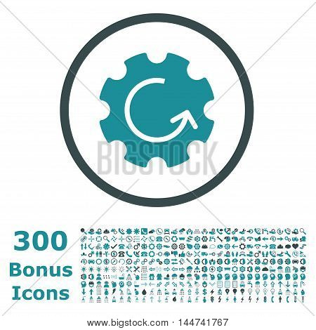 Gear Rotation rounded icon with 300 bonus icons. Vector illustration style is flat iconic bicolor symbols, soft blue colors, white background.