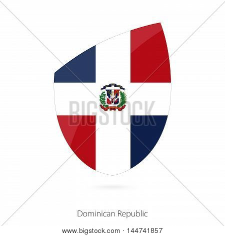 Flag of Dominican Republic in the style of Rugby icon. Vector Illustration.