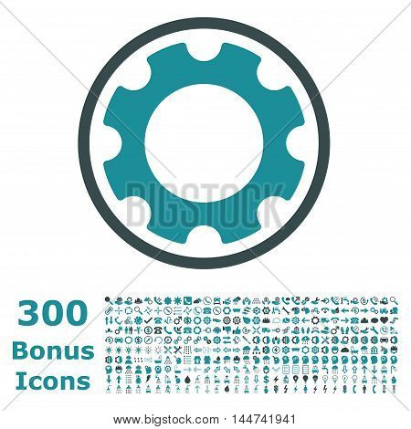 Gear rounded icon with 300 bonus icons. Vector illustration style is flat iconic bicolor symbols, soft blue colors, white background.