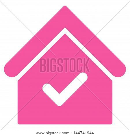 Valid House icon. Glyph style is flat iconic symbol, pink color, white background.