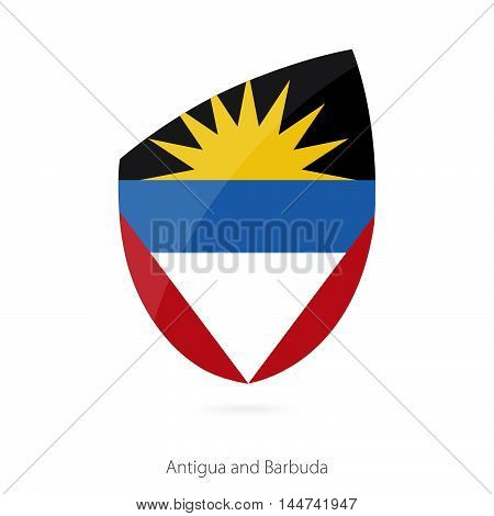 Flag of Antigua and Barbuda in the style of Rugby icon. Vector Illustration.