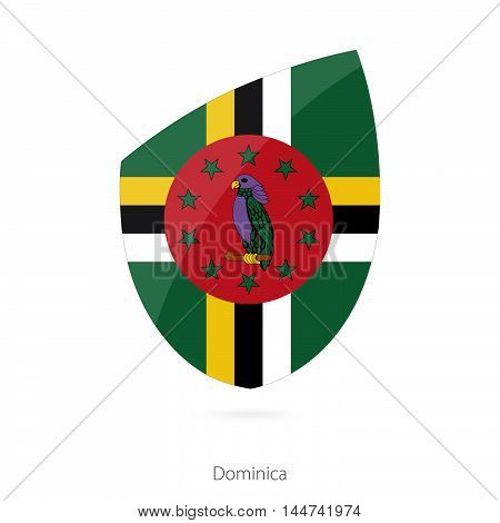 Flag of Dominica in the style of Rugby icon. Vector Illustration.