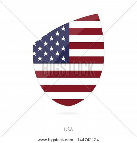 Flag of USA in the style of Rugby icon. Vector Illustration.