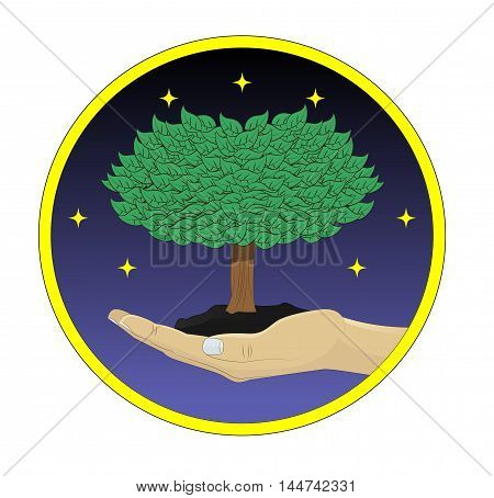 Hand holding tree. Growth and environmental protection concept vector illustration.