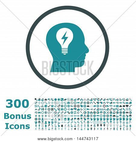 Head Bulb rounded icon with 300 bonus icons. Vector illustration style is flat iconic bicolor symbols, soft blue colors, white background.