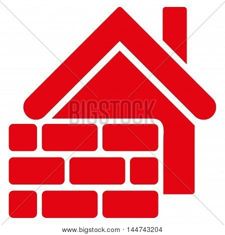 Realty Brick Wall icon. Glyph style is flat iconic symbol, red color, white background.