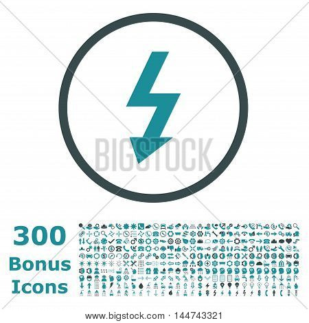 High Voltage rounded icon with 300 bonus icons. Vector illustration style is flat iconic bicolor symbols, soft blue colors, white background.