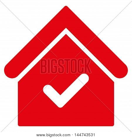 Valid House icon. Glyph style is flat iconic symbol, red color, white background.