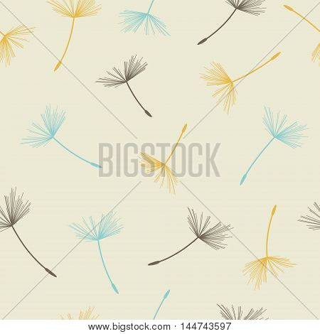 Dandelion seamless pattern. Vector illustration. Flying seeds