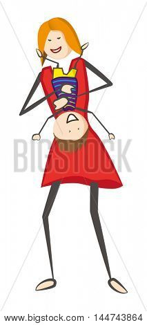 Playfull mother holding laughing child upside down. Vector illustration