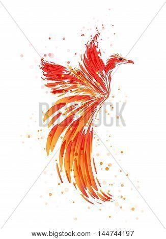 Flaming Phoenix on white background, burning mythical bird