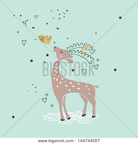 cute deer with gold heart