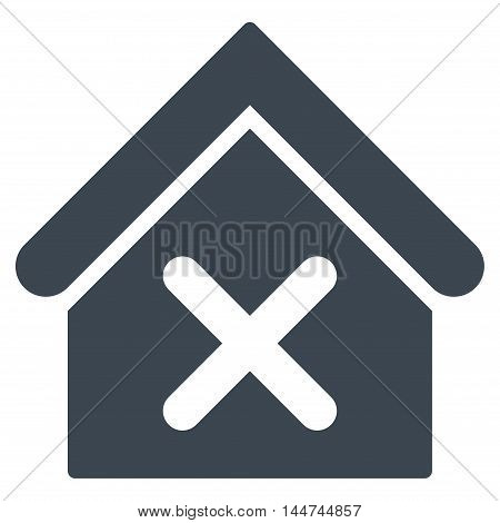 Wrong House icon. Glyph style is flat iconic symbol, smooth blue color, white background.