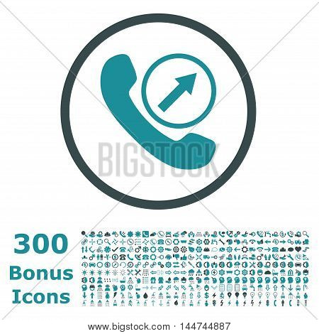 Outgoing Call rounded icon with 300 bonus icons. Vector illustration style is flat iconic bicolor symbols, soft blue colors, white background.