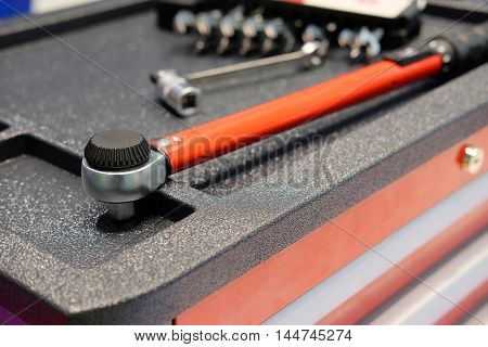 Tools on a tool's cart in a car repair station