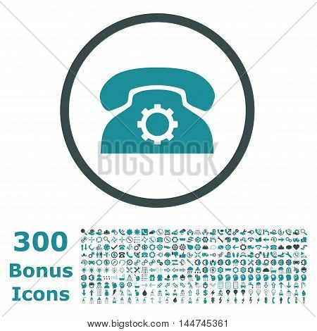 Phone Settings rounded icon with 300 bonus icons. Vector illustration style is flat iconic bicolor symbols, soft blue colors, white background.