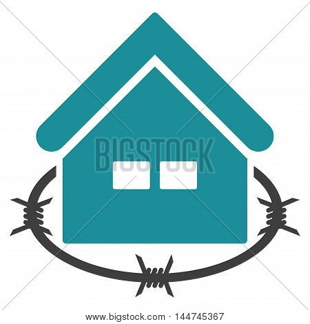 Prison Building icon. Glyph style is flat iconic symbol, soft blue color, white background.