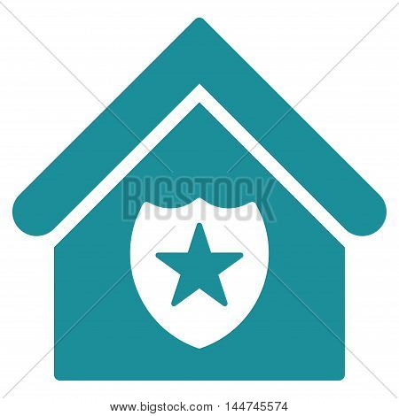 Realty Protection icon. Glyph style is flat iconic symbol, soft blue color, white background.