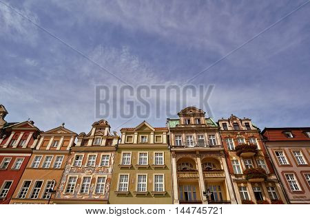 Facades of houses in the Old Market Square in Poznan