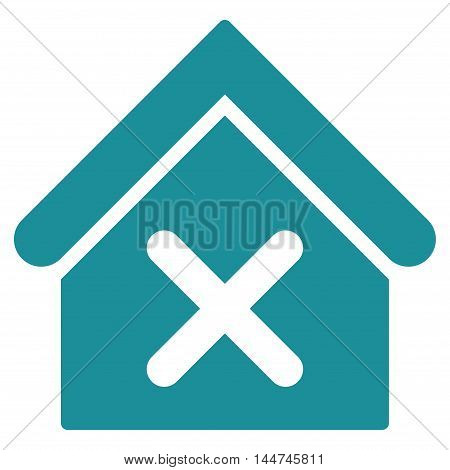 Wrong House icon. Glyph style is flat iconic symbol, soft blue color, white background.