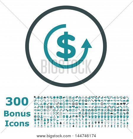 Refund rounded icon with 300 bonus icons. Vector illustration style is flat iconic bicolor symbols, soft blue colors, white background.