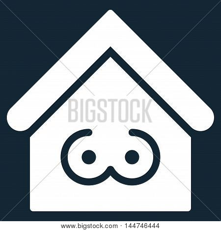 Strip Bar icon. Glyph style is flat iconic symbol, white color, dark blue background.