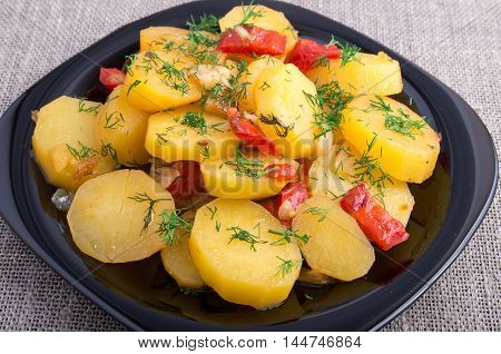 Stew Of Potatoes With Onion, Bell Pepper And Fennel
