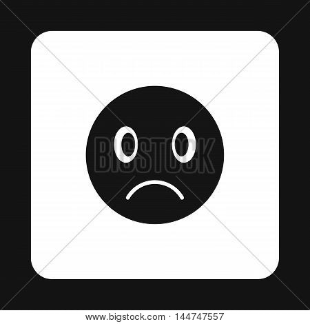 Sad emoticon icon in simple style isolated on white background