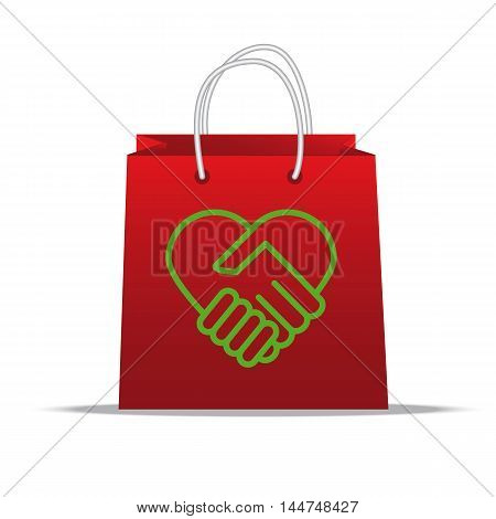 A handshake - a symbol of love for nature, on the shopping bag.