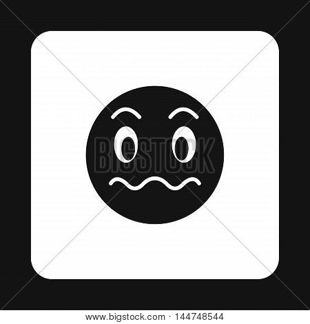 Grimacing emoticon icon in simple style isolated on white background