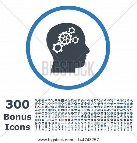 Brain Gears rounded icon with 300 bonus icons. Vector illustration style is flat iconic bicolor symbols, smooth blue colors, white background.