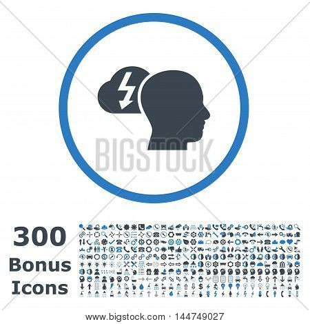 Brainstorming rounded icon with 300 bonus icons. Vector illustration style is flat iconic bicolor symbols, smooth blue colors, white background.