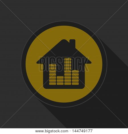 dark gray and yellow icon - house with equalizer on circle with long shadow
