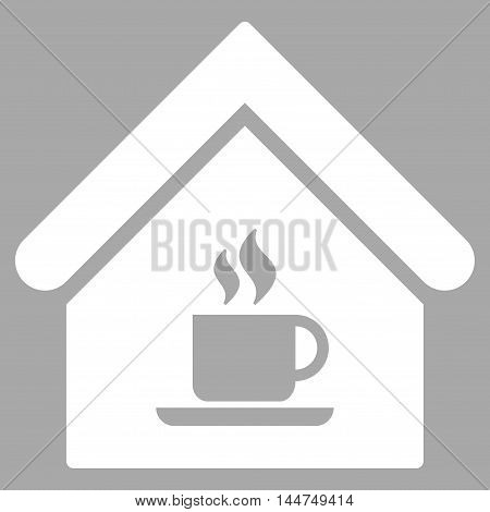 Cafe House icon. Vector style is flat iconic symbol, white color, silver background.