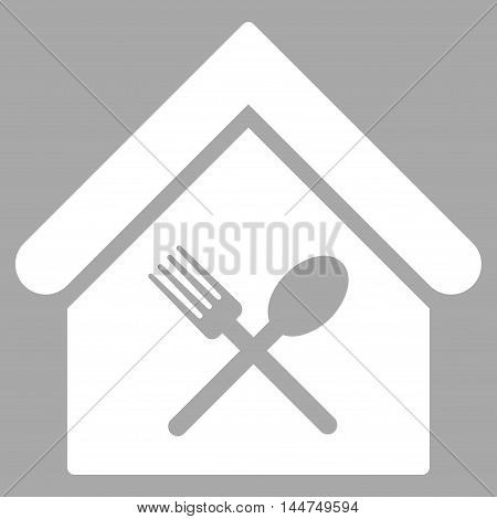 Food Court icon. Vector style is flat iconic symbol, white color, silver background.