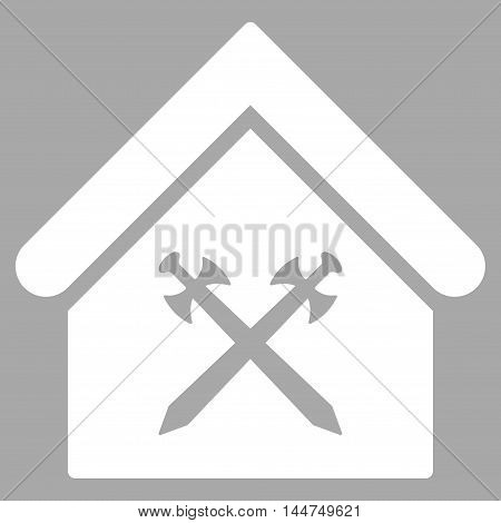 Guard Office icon. Vector style is flat iconic symbol, white color, silver background.