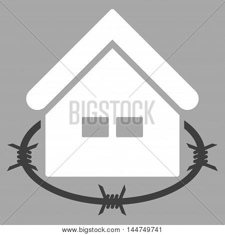 Prison Building icon. Vector style is flat iconic symbol, white color, silver background.