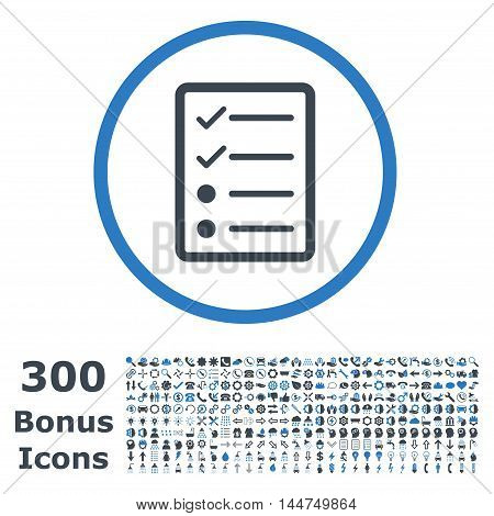 Checklist Page rounded icon with 300 bonus icons. Vector illustration style is flat iconic bicolor symbols, smooth blue colors, white background.