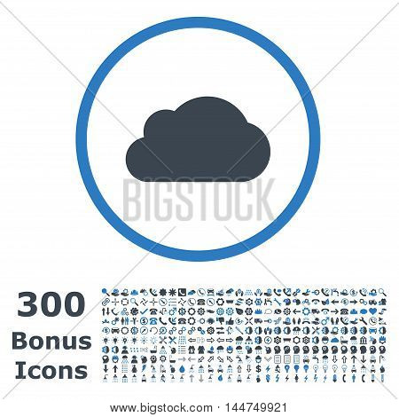 Cloud rounded icon with 300 bonus icons. Vector illustration style is flat iconic bicolor symbols, smooth blue colors, white background.