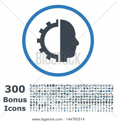 Cyborg Gear rounded icon with 300 bonus icons. Vector illustration style is flat iconic bicolor symbols, smooth blue colors, white background.