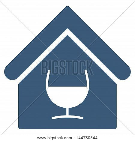 Alcohol Bar icon. Vector style is flat iconic symbol, blue color, white background.