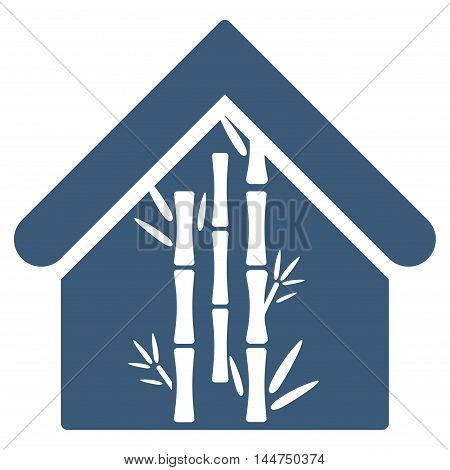 Bamboo House icon. Vector style is flat iconic symbol, blue color, white background.