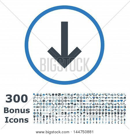 Down Arrow rounded icon with 300 bonus icons. Vector illustration style is flat iconic bicolor symbols, smooth blue colors, white background.