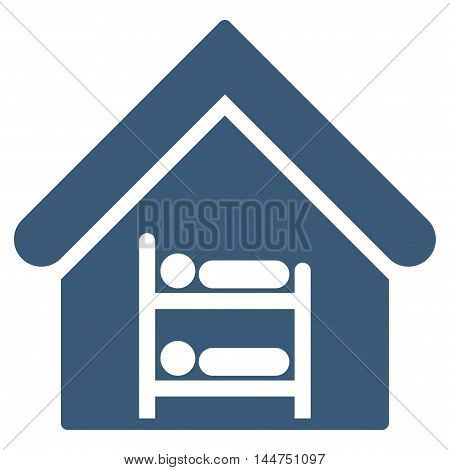 Hostel icon. Vector style is flat iconic symbol, blue color, white background.