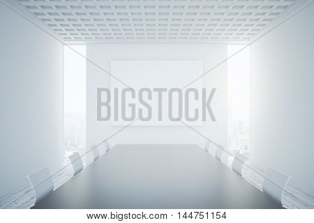 Conference Room Interior With Blank Banner