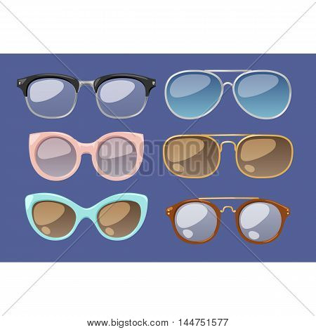 Vector glasses isolated on background. Hipster fashion glasses. Glasses tool for human face isolated vector illustration